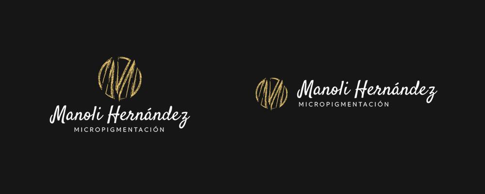 Nueva marca de Manoli Hernández, un imagotipo en sus versiones vertical y horizontal.