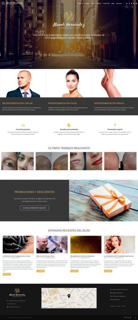 Diseño final de la web, mostrando como ejemplo la imagen de portada.