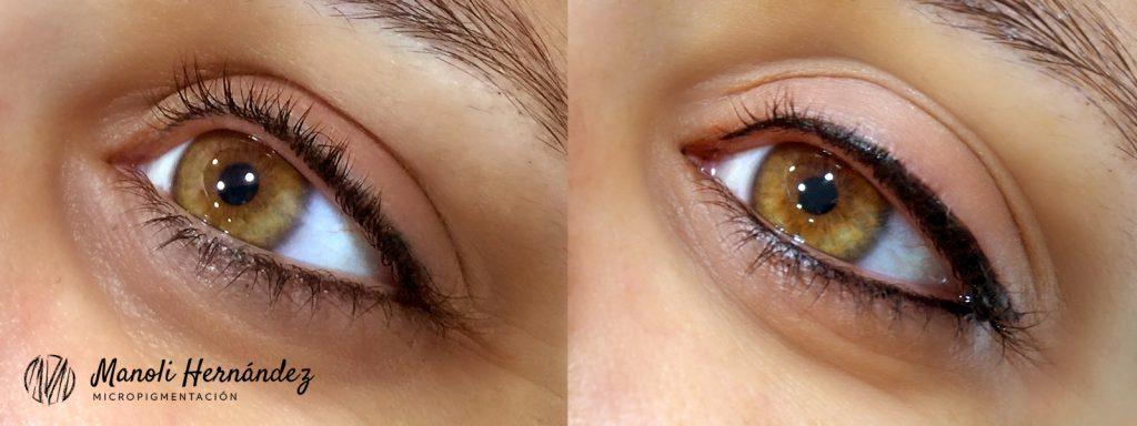 Antes y después de un tratamiento de micropigmentación facial en ojos (eyeliner superior e inferior)